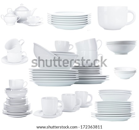 Collage of clean dishware isolated on white - stock photo