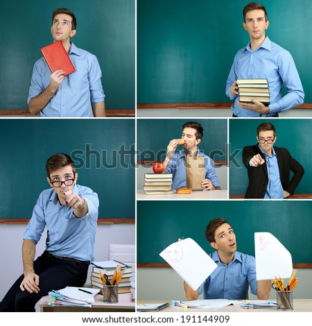 Collage of clever teacher close-up - stock photo