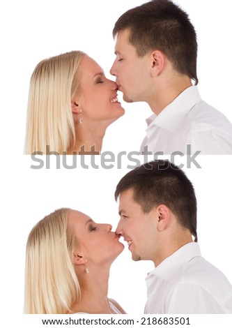 Collage of close up portraits of young caucasian couple kissing