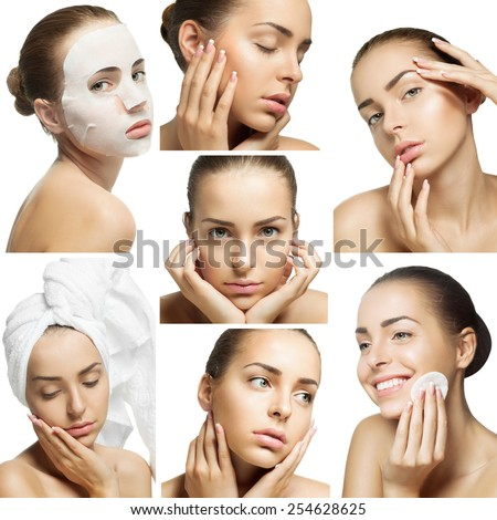 collage of close-up  portraits of young woman for beauty rituals - stock photo