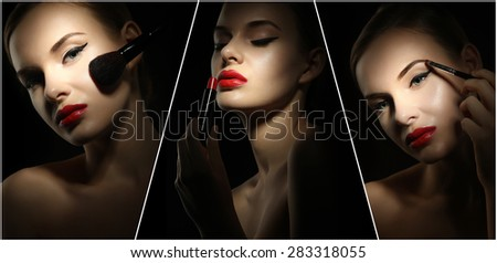 Collage of close-ups woman apply makeup on a black background - stock photo