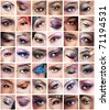 Collage of 42 closeup eyes images of women of different ethnicities (african, asian/indian, caucasian) with creative colorful makeups - stock photo