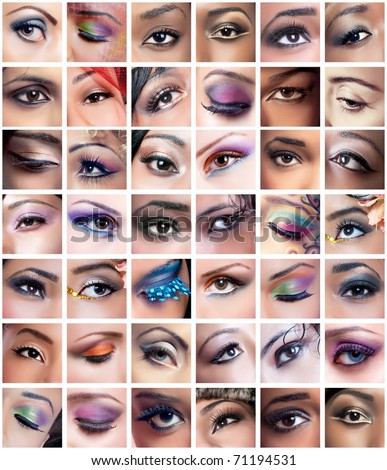 Collage of 42 closeup eyes images of women of different ethnicities (african, asian/indian, caucasian) with creative colorful makeups