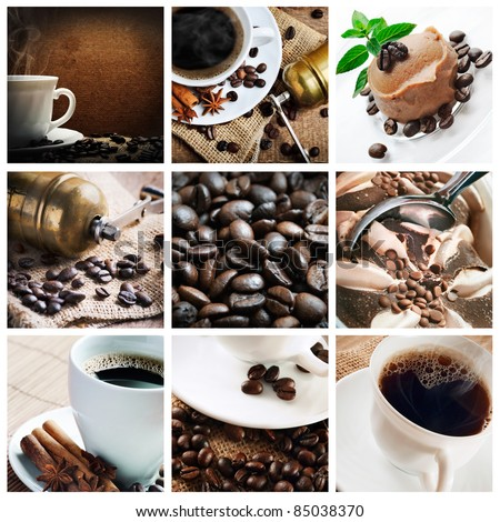 Collage of coffee and coffee products - stock photo