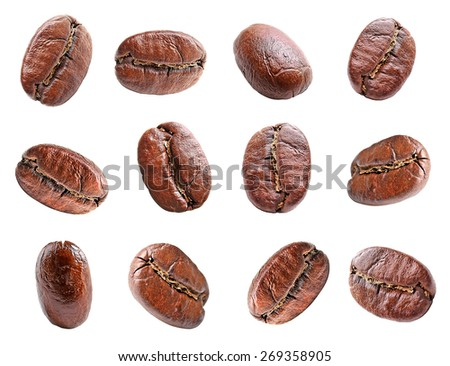 Collage of coffee beans isolated on white - stock photo