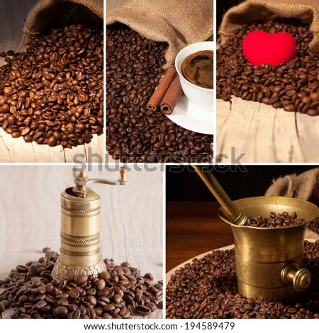 Collage of coffee details. Coffee antique grinder, coffee beans  - stock photo