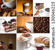 collage of coffee pictures with cinnamon, coffee beans, chocolate cake - stock photo