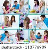Collage of college students studying - stock photo