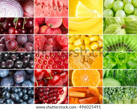 Collage Color Fruits Vegetables Food Background Stock Photo & Image ...