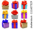 Collage of color gifts with bows on white background - stock photo