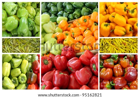 Collage of colored peppers of different varieties