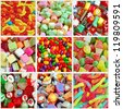 Collage of colorful assorted candy - stock
