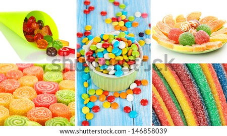 Collage of colorful candies - stock photo