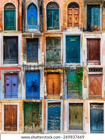 Collage of colorful front doors to houses and homes, collection colorful doors from Venice, Italy - stock photo