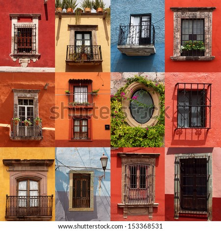 collage of colorful mexican windows - stock photo