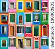 collage of colorful windows and doors in Burano - stock photo
