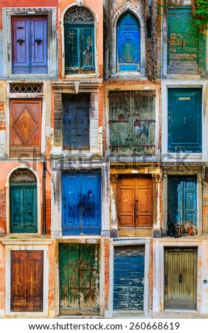 Collage of colourful front doors to houses and homes, collection colorful doors from Venice, Italy - stock photo
