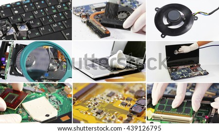 Collage of computer (laptop) hardware and components - stock photo