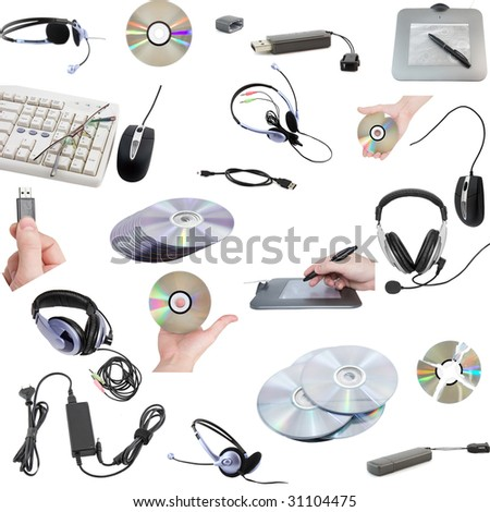 Collage of computers devices. Isolated