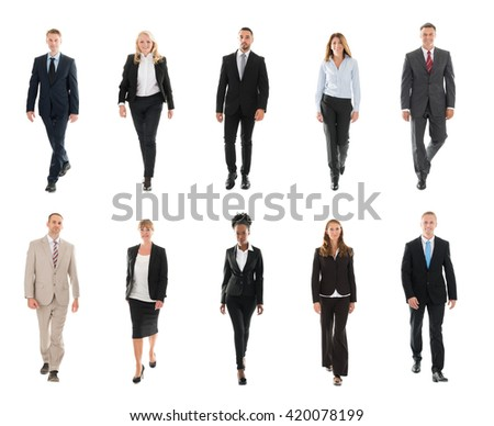 Collage Of Confident Businesspeople Walking Over White Background - stock photo