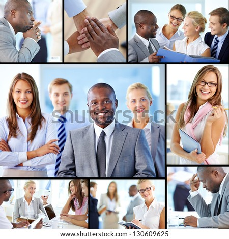 Collage of confident employees at work - stock photo