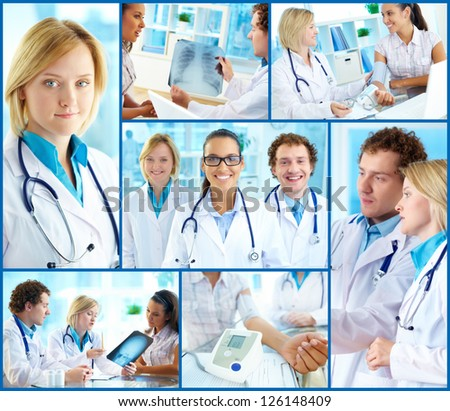Collage of confident practitioners at work in hospital - stock photo