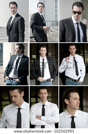 Collage of confident young business man portrait outdoor. - stock photo