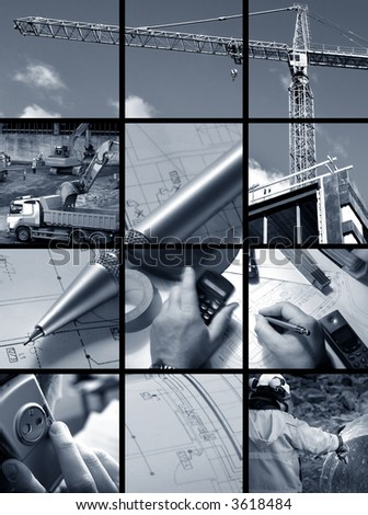 Collage of Construction ambiance - stock photo