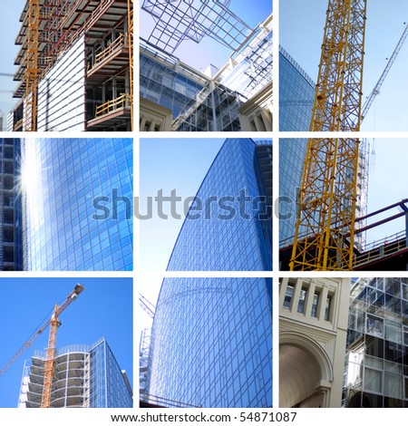 collage of construction of modern skyscrapers and building crane - stock photo
