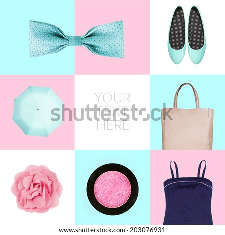 collage of contemporary fashion clothes - stock photo