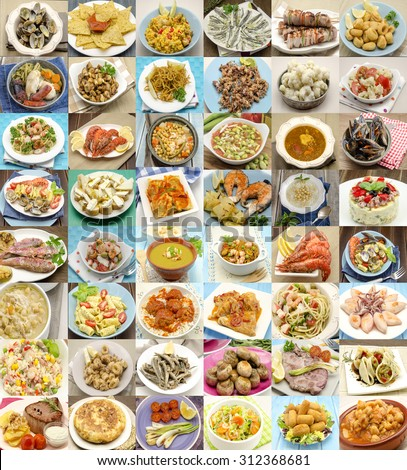 Collage of cooked dishes typical of Spain - stock photo