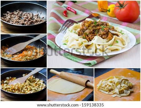 Collage of cooking homemade pasta with meat and vegetable - stock photo