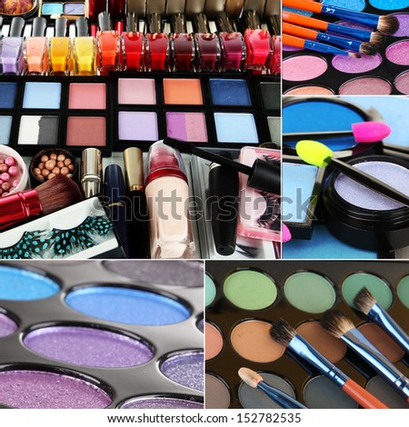 Collage of cosmetic - stock photo