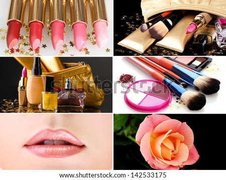 Collage of cosmetics for professional make-up