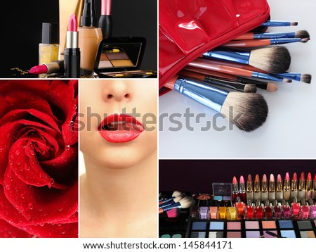 Collage of cosmetics for professional make-up - stock photo