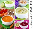 Collage of cream soup for menu - stock photo