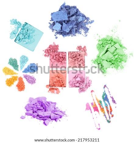 Collage of crushed eyeshadow isolated on white - stock photo