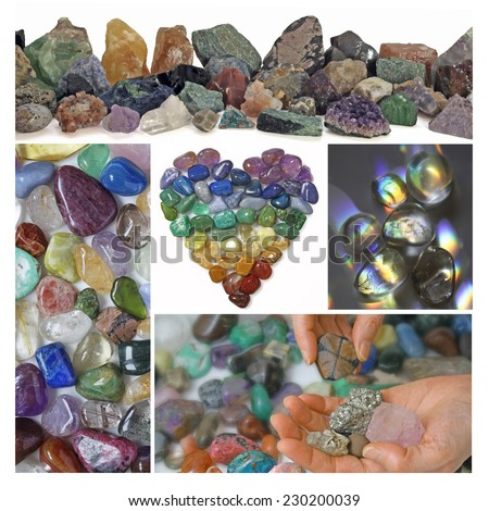 Collage of Crystals - Four images showing polished and unpolished healing crystals surround a heart shaped from chakra colored tumbled stones and a therapist choosing a stone in bottom right corner - stock photo