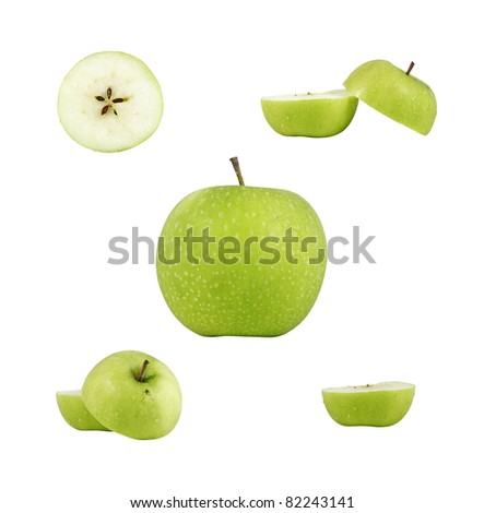 Collage of cut, sliced and halved fresh green apple, isolated against white.