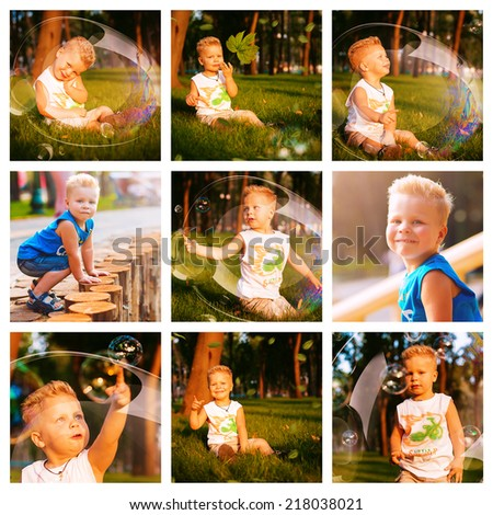collage of cute blond boy with bubbles on grass - stock photo