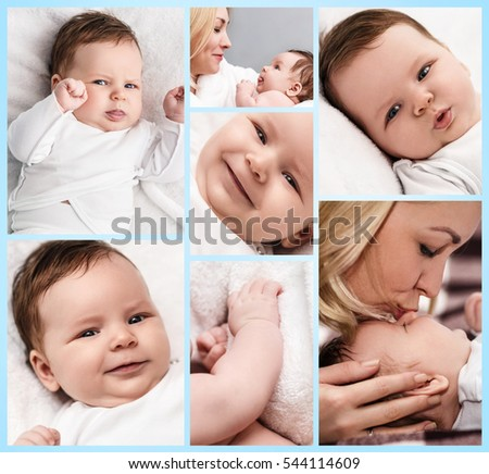 Collage of cute newborn baby boy.
