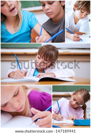 Collage of cute pupils at school - stock photo