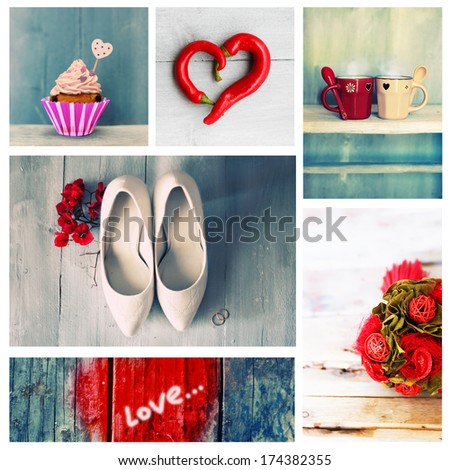 Collage of cute romantic photos - stock photo