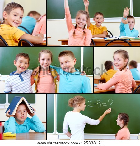 Collage of cute schoolchildren and teacher in classroom - stock photo