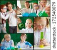 Collage of cute schoolchildren working with chemical liquids at lesson - stock photo