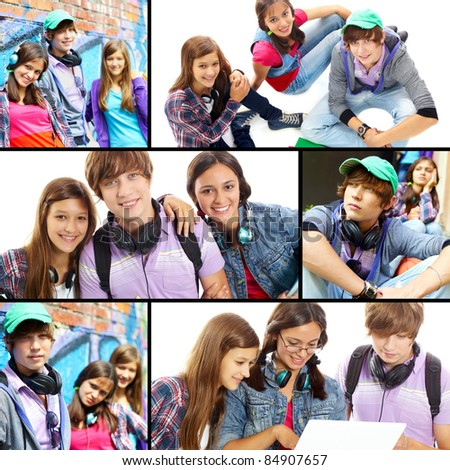 Collage of cute teens at leisure - stock photo