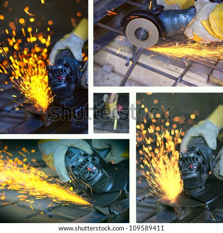 Collage of cutting metal with many sharp sparks - stock photo
