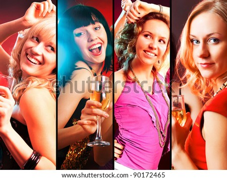 collage of Dancing  happy young girls  on the party - stock photo
