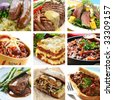 Collage of delicious beef meals.  Includes steak, sausages, chili, salad, lasagne. - stock photo