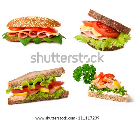 Collage of delicious sandwiches. - stock photo